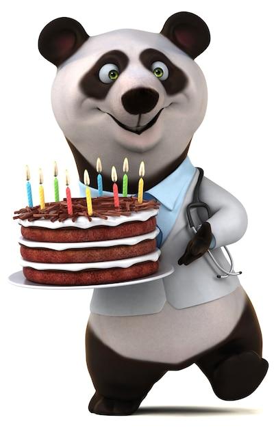 Fun panda - 3d-illustration Premium Fotos