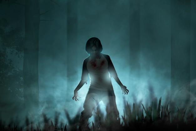 Furchterregende zombies mit blut und wunden auf seinem körper, die mit nebel und mondlicht durch den verwunschenen wald laufen Premium Fotos
