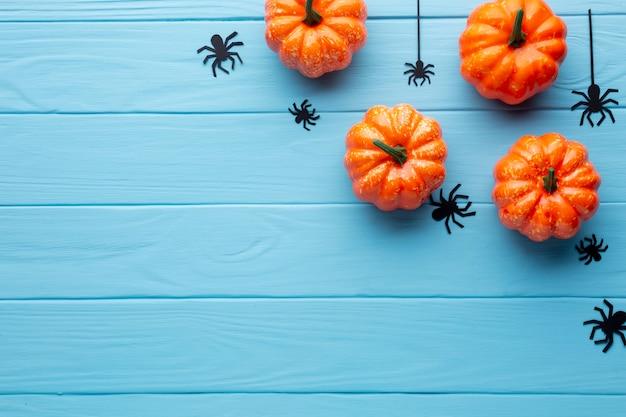Furchtsame halloween-spinnen und -kürbise Kostenlose Fotos