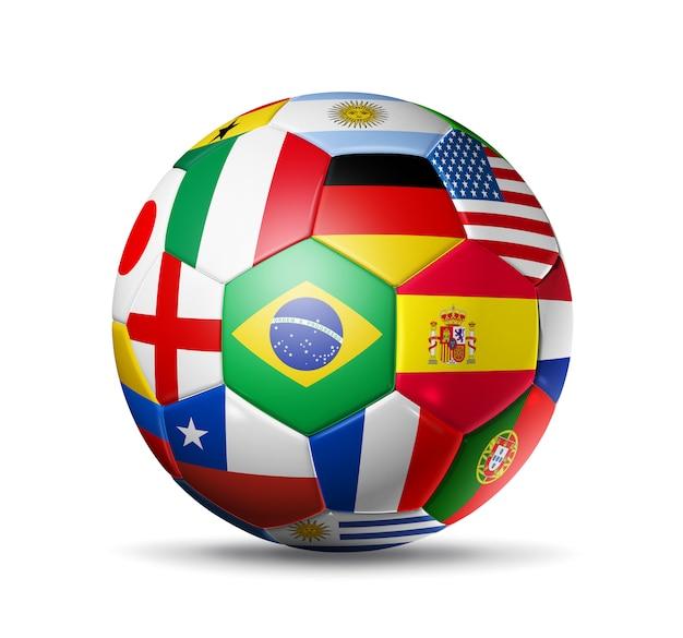 Fußball fußball mit flaggen der weltmannschaften Premium Fotos