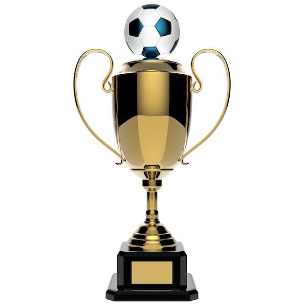 Fußball-goldene preistrophäe lokalisiert auf weiß mit beschneidungspfad Premium Fotos