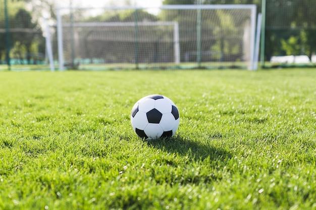 Fußball im gras vor ziel Kostenlose Fotos