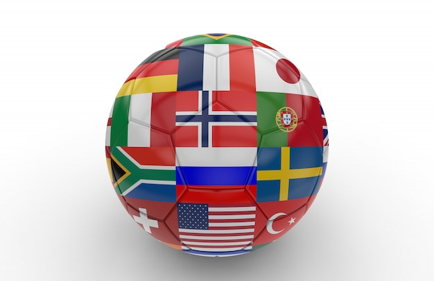 Fußball mit vielen flaggen Premium Fotos