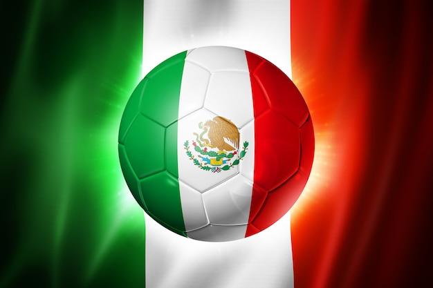 Fußballfußball mit mexiko-flagge Premium Fotos