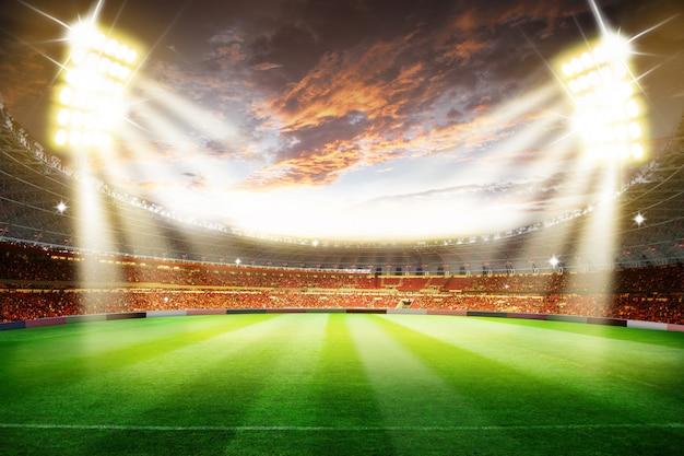Fußballfußballstadionsarena der wiedergabe 3d mit lichtern Premium Fotos
