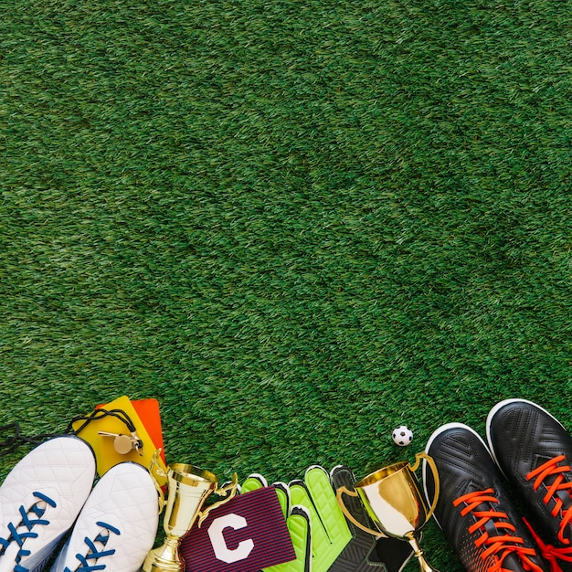 Fußballhintergrund mit copyspace auf die oberseite Kostenlose Fotos
