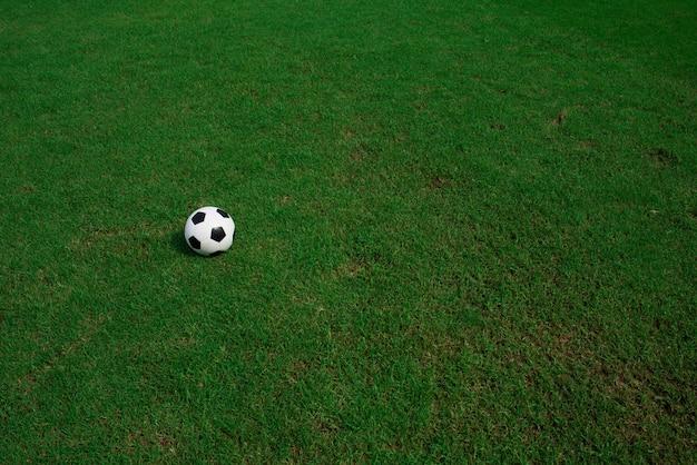 Fußballkugel auf gras mit stadionhintergrund Kostenlose Fotos