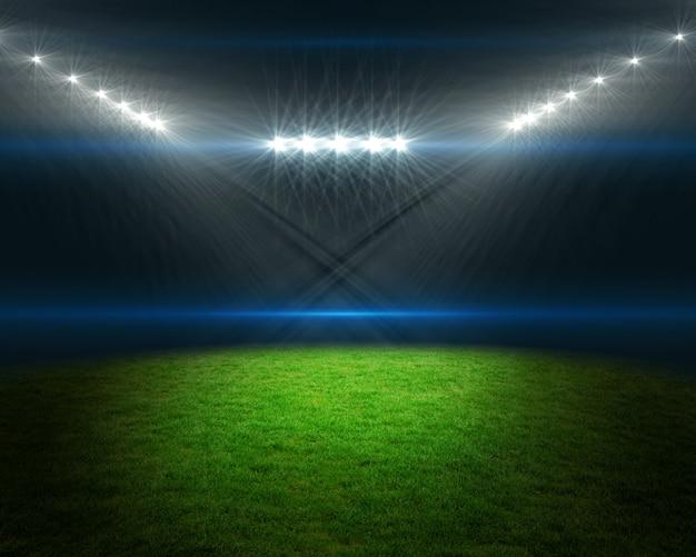 Fußballplatz mit hellen lichtern Premium Fotos