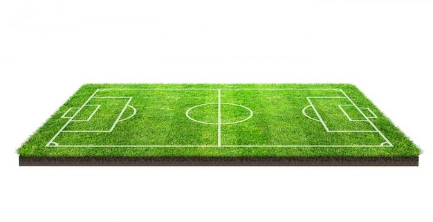 Fußballplatz oder fußballplatz auf der musterbeschaffenheit des grünen grases lokalisiert auf weißem hintergrund mit beschneidungspfad. fußballstadionshintergrund mit linie muster. Premium Fotos