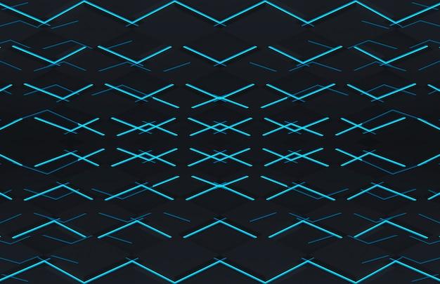 Futuristische gitterplatte des schwarzen quadrats mit wandboden des blauen lichtes Premium Fotos