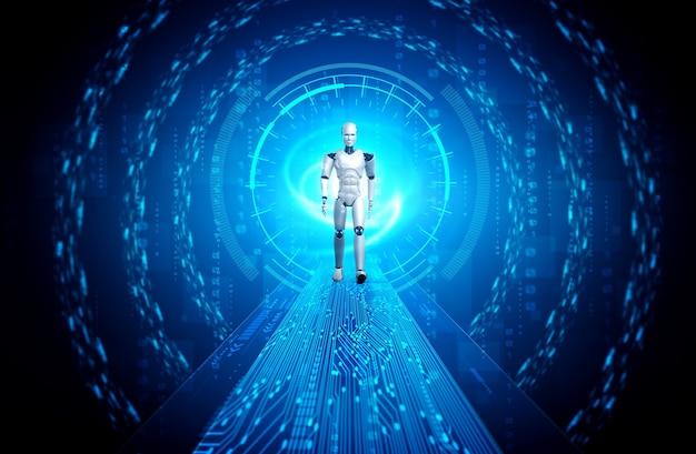 Futuristische roboter- und datenanalyse Premium Fotos