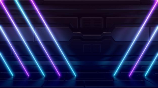 Futuristische sciencefiction-zusammenfassungs-blaue und purpurrote neonlicht-formen auf reflektierendem metall Premium Fotos