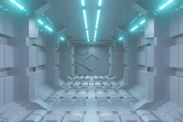 Futuristischer 3d-sci-fi-korridorhintergrund mit blauem licht. Premium Fotos