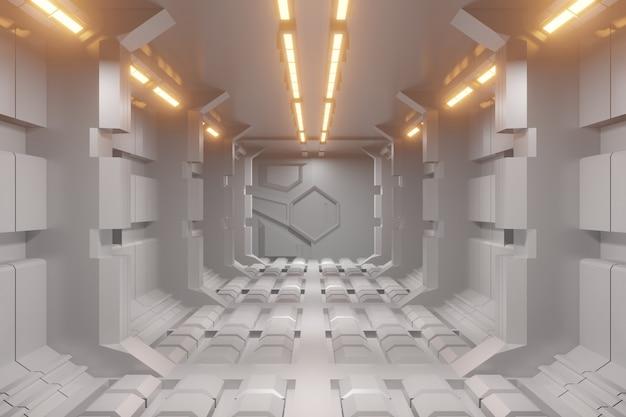 Futuristischer 3d-sci-fi-korridorhintergrund mit gelbem licht. Premium Fotos