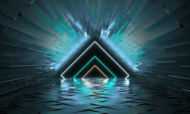 Futuristischer hintergrund mit neonformen eines dreiecks und reflexion. leerer tunnel mit neonlicht. 3d-rendering Premium Fotos