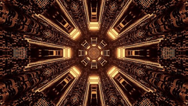 Futuristischer science-fiction-tunnelkanal mit rundem pixel und braunen und goldenen lichtern Kostenlose Fotos