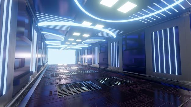 Futuristischer scifi-korridor blauer hintergrund tapete heller hintergrundbildschirm Premium Fotos