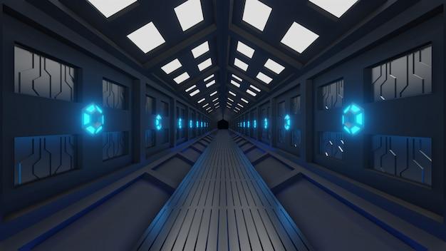 Futuristischer sechseckiger tunnel in raumfahrzeugen mit weltraumspaziergang weiches blaulicht, lampen an den wänden des korridors Premium Fotos