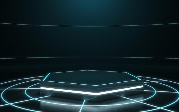 Futuristischer sockel zur anzeige. leeres podium für das produkt. 3d-rendering Premium Fotos