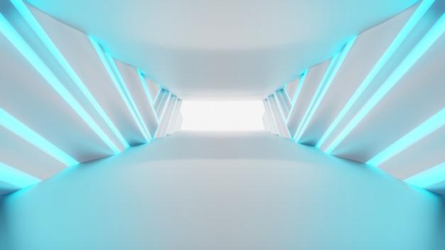 Futuristischer tunnel leer. innenarchitektur des beleuchteten korridors, neonlichter, 3d-rendering Premium Fotos