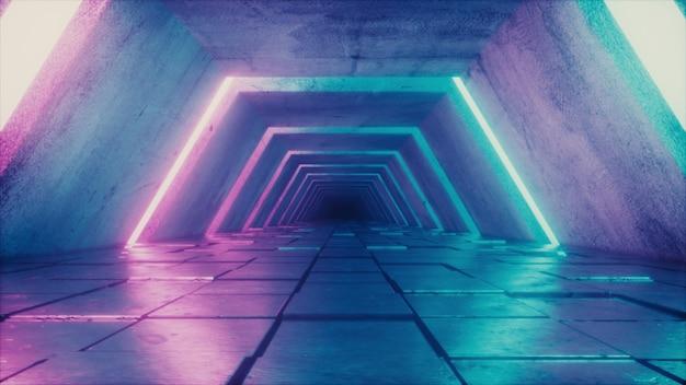 Futuristischer tunnel mit fluoreszierenden ultravioletten lichtern Premium Fotos