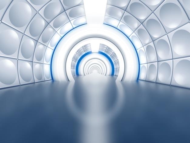 Futuristischer tunnel wie raumschiffkorridor Premium Fotos