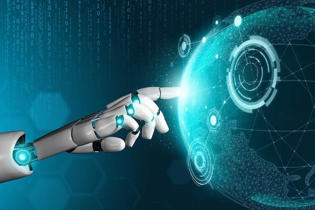 Futuristisches konzept der künstlichen intelligenz des roboters. Premium Fotos