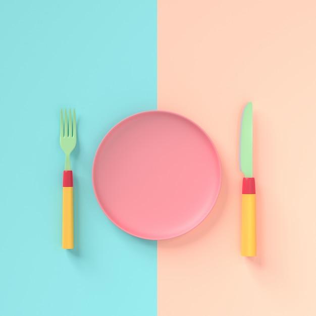 Gabel mit messer und teller pastellfarbe Premium Fotos