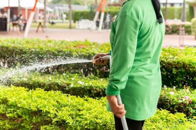 Gärtnerfrauenbewässerungsanlage mit schlauch im garten. Premium Fotos