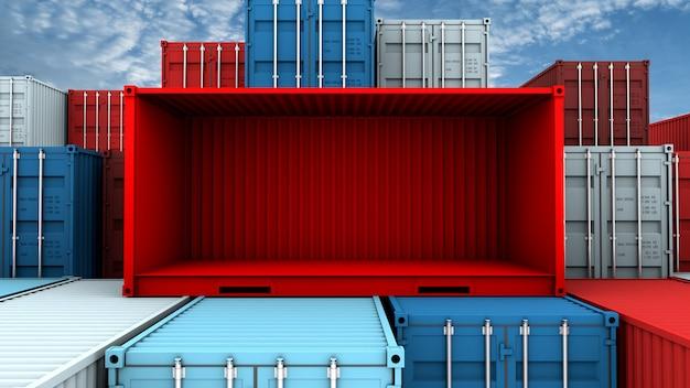 Ganze seite und leerer roter behälterkasten am frachtfrachtschiff Premium Fotos