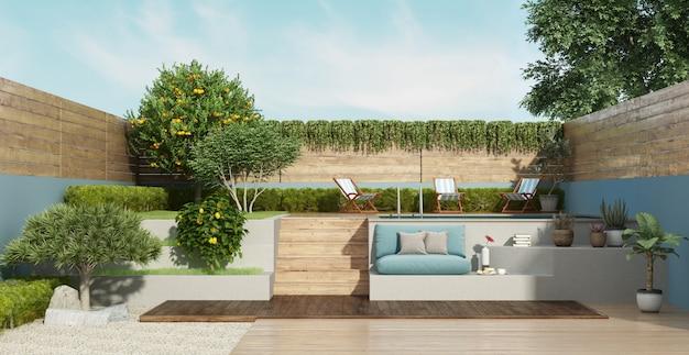 Garten auf zwei ebenen mit einem kleinen pool Premium Fotos