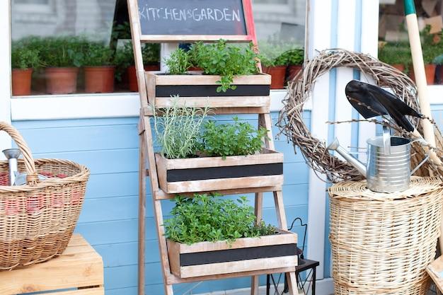 Gartenarbeit. frühlingsgarten wachsende pflanzen in töpfen. weidenkörbe neben der gartenausstattung an der wand eines blauen landhauses. sommerferien. die einrichtung des hinterhof-landhauses Premium Fotos