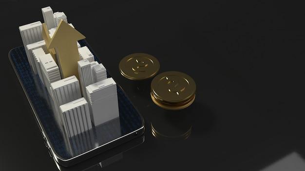 Gebäude der wiedergabe 3d am handy Premium Fotos