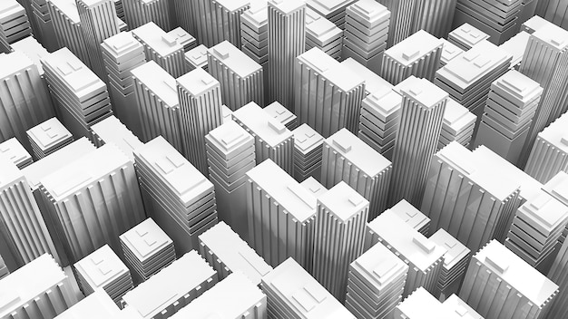 Gebäude der wiedergabe 3d für aufbauhintergrund Premium Fotos
