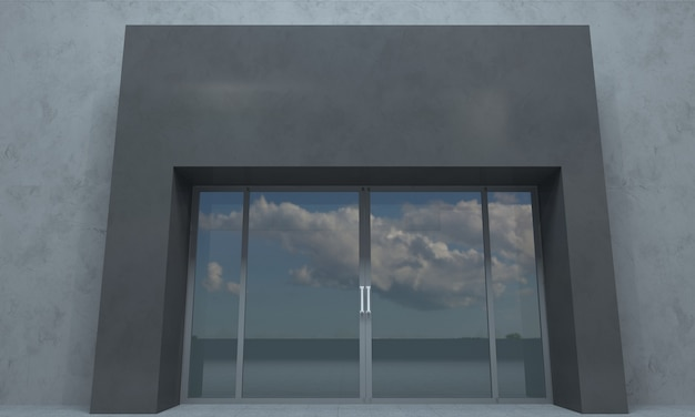 Gebäude nahaufnahme ansicht 3d gerendert Premium Fotos