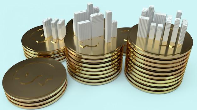 Gebäudemodell und goldmünzen für immobilieninhalte. Premium Fotos