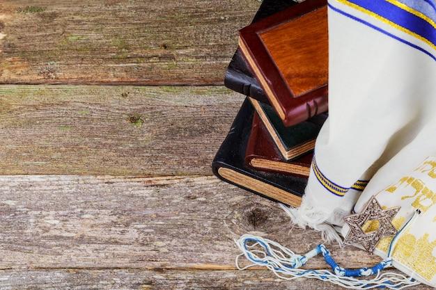 Gebetsschal - tallit, jüdisches religiöses symbol. Premium Fotos