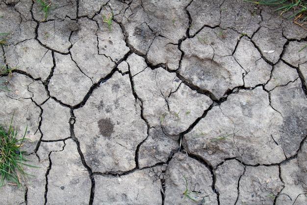 Gebrochener getrockneter erdtexturhintergrund, nahaufnahme. trocken-, erosions-, ökologieproblemkonzept. Premium Fotos