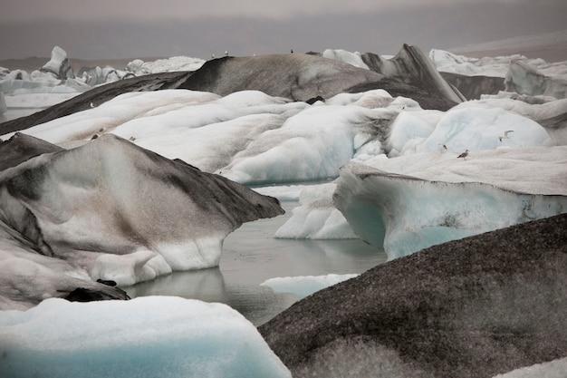 Gefrorene blaue eisberge in einem gletschersee Premium Fotos