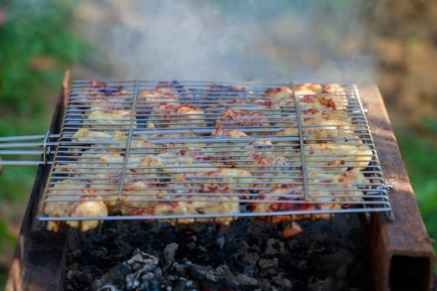 Gegrillter hühnerschenkel auf dem grill Premium Fotos