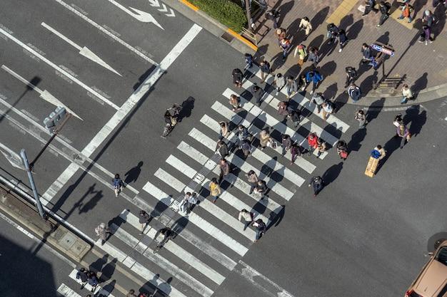 Gehende überführung der draufsichtleute der straßenkreuzungs-zebrastreifen Premium Fotos