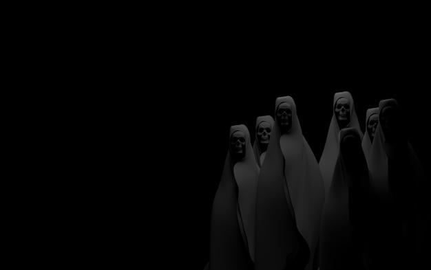 Geist auf schwarzem hintergrund. apokalypse und hölle konzept. 3d-rendering Premium Fotos
