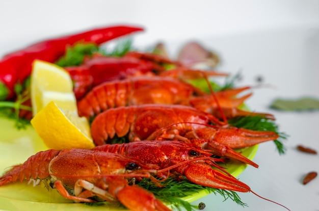 Gekochte flusskrebse oder langusten mit dillkräutern. nahansicht. flusskrebs-party, restaurant Premium Fotos