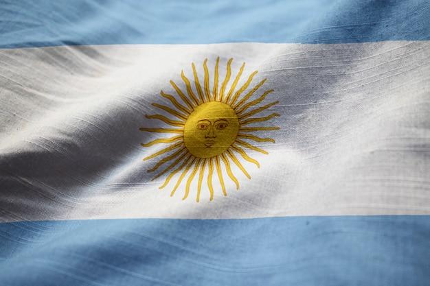 Gekräuselte flagge von argentinien im wind wehen Premium Fotos