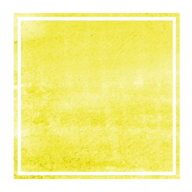 Gelbe hand gezeichnete rechteckige rahmen-hintergrundbeschaffenheit des aquarells mit flecken Premium Fotos