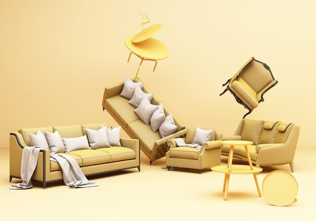 Gelbe möbel klassische sofa sessel tisch spaß komposition auf gelbem hintergrund 3d-rendering Premium Fotos