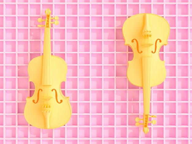 Gelbe violinen auf rosa geometrischem 3d hintergrund, flacher strahl Premium Fotos