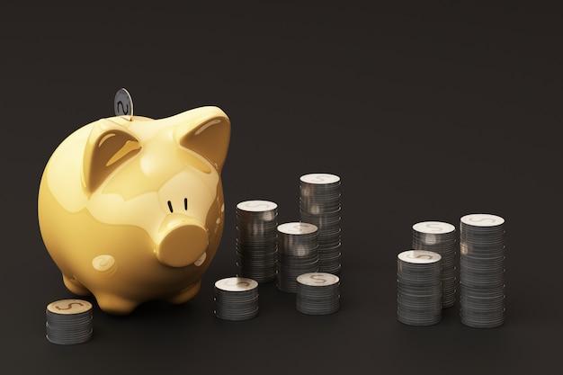Gelbe wählerische bank und münze, um geld zu investieren, ideen, um geld für die zukünftige verwendung zu sparen. 3d-rendering Premium Fotos