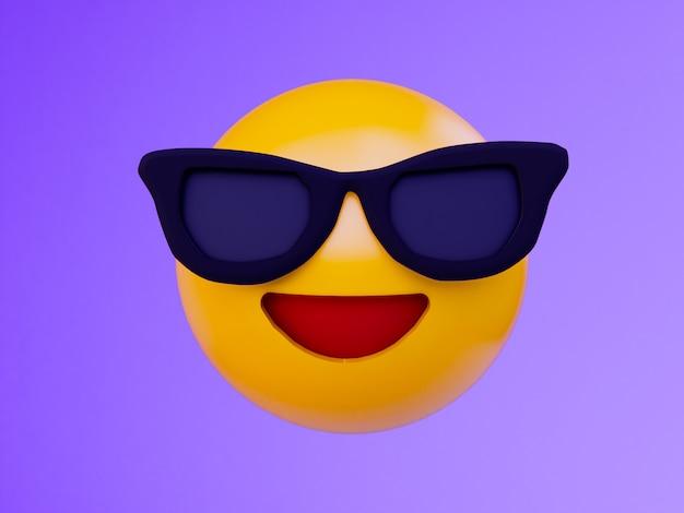 Gelber ball emoji des lächelns. 3d übertragen hintergrund Premium Fotos