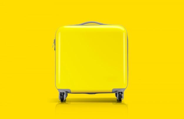 Gelber koffer oder gepäck für reisenden Premium Fotos